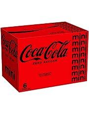 Coca-Cola Zero Azucar Lijmverser, zonder suiker, calorievrij, verpakking met 6 mini-blikjes, 200 ml