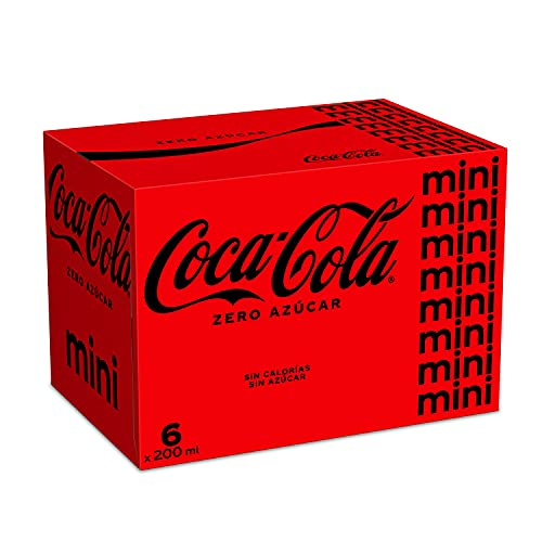 Coca-Cola Zero Sucre Rafraîchisseur de colle sans sucre, sans calories, lot de 6 mini canettes 200 ml