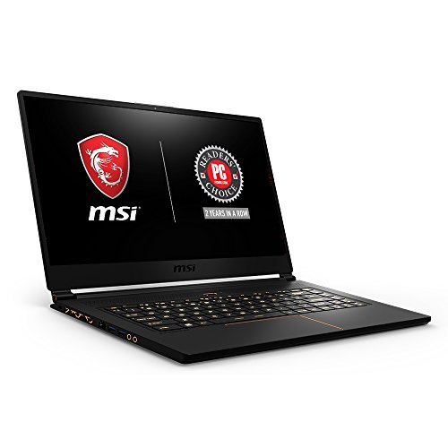 MSI GS65 Stealth15.6' 144Hz 7ms Ultra Thin 4.9mm Bezel Gaming Laptop, GTX 1070 8G, i7-8750H (6 Cores) 16GB DDR4, 256GB SSD, RGB KB VR Ready,Metal Chassis, Black w/ Gold Diamond Cut, Win 10 Home 64bit