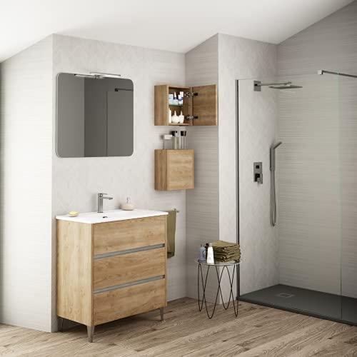 Coycama Mueble de baño Siena Fondo Reducido 3 Cajones y Lavabo Cerámico (Roble Natural, 80)