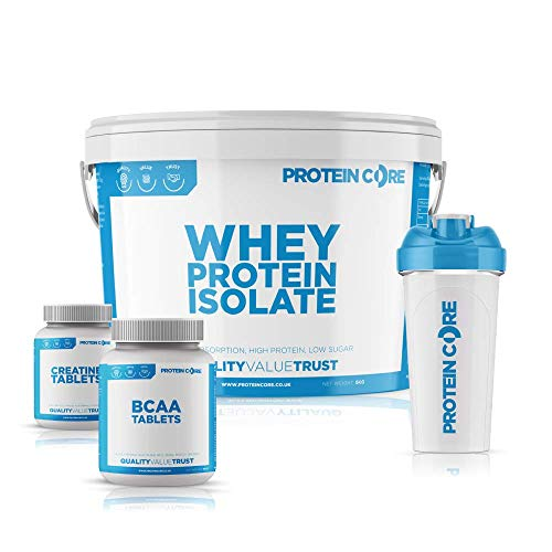 Whey Protein Isolate Bundle - Free Creatine Tabs + Free BCAA Tablets + Free Shaker - Build Muscle Tone - Protein Core (2.25KG) (Strawberry)