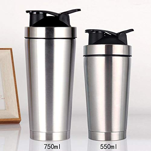 750ml Exercise Protein Powder Shaker 25oz Double Vacuum Insulation Stainless Steel Cup 304,Silver,550ml