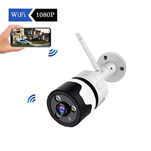 Telecamera Wi-Fi Esterno Senza Fili 1080P, Impermeabile Antipolvere Fotocamera statica con Visione Notturna, connessione LAN&WLAN