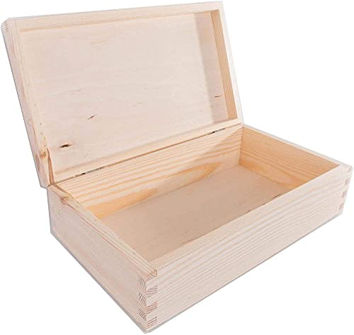 Caja de madera rectangular alargada con tapa | 47 x 7 x 5 x 5 cm | sin pintar & amp sin tratar simple decoración de pino para decoupage artesanal | Caja de almacenamiento de bebidas