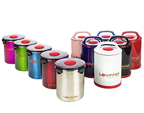 LOVFFEE 1 Pound Stainless Steel Coffee Storage Container