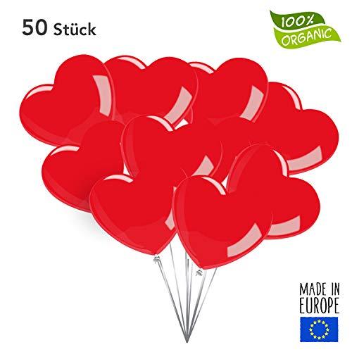 Twist4 50 Premium Herzluftballons in Rot - Made in EU - 100% Naturlatex und 100% biologisch abbaubar – Liebe Hochzeit Valentinstag - für Helium geeignet