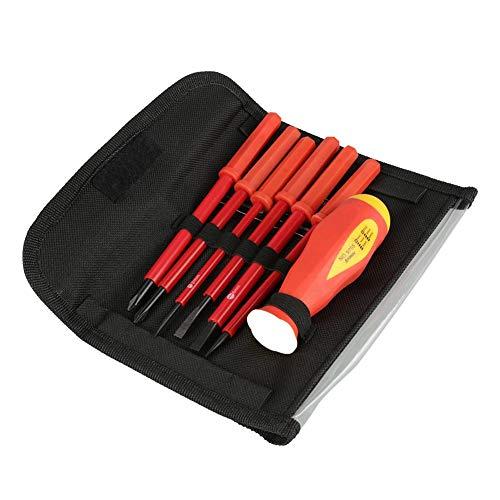 Komko Juego de destornilladores pequeños para barra de destornillador, 7 unids/set multifunción con ranura aislada para electricista con mango y bolsa - -