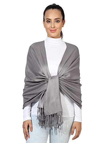 World of Shawls Handcrafted Soft Pashmina Shawl Wrap Scarf in Solid Colors 100% Viscose (Dark Silver)