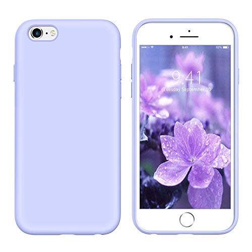 YINLAI iPhone 6S Plus Case/iPhone 6 Plus Case Lavender, Liquid Silicone Slim Soft Rubber Cover Microfiber Cloth Lining Cushion Protective Phone Case for iPhone 6S Plus/iPhone 6 Plus 5.5' Pastel Purple