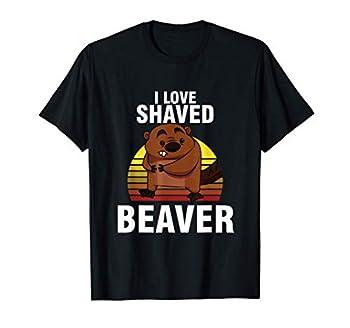 Retro Sunset Beaver Lover I Love Shaved Beaver Animal Art T-Shirt