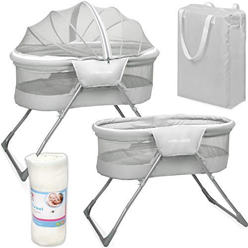 Baby Reisebett Beistellbett Babybett grau Mädchen Jungen Bassinet Snoozer mit Moskitohaube, Matratze, Tasche, Babydecke