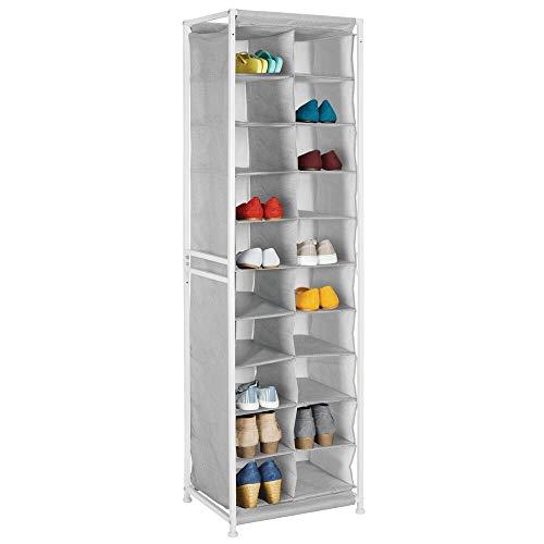 mDesign Mueble zapatero – Práctico organizador de zapatos con estructura de metal para la entrada o el trastero – Estantería guarda zapatos con 20 amplios compartimentos – gris
