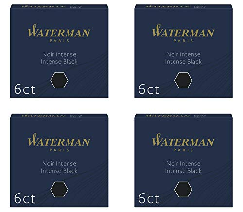 Waterman - Juego de 4 fundas de 6 cartuchos internacionales cortos para pluma estilográfica, tinta negra