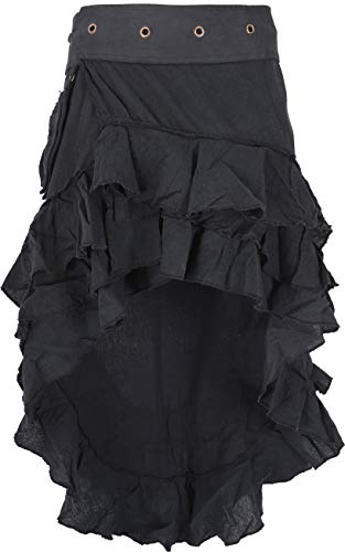 Guru-Shop Psytrance Goa Pixi Minirock, Wickelrock, Stufenrock, Damen, Schwarz, Baumwolle, Size:One Size, Röcke/Kurz Alternative Bekleidung