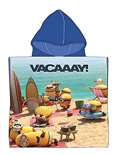 Badetuch Bademantel Kapuzen Poncho für Kinder Minions Minion tolles Geschenk für Mädchen und Jungen (Minion AA)