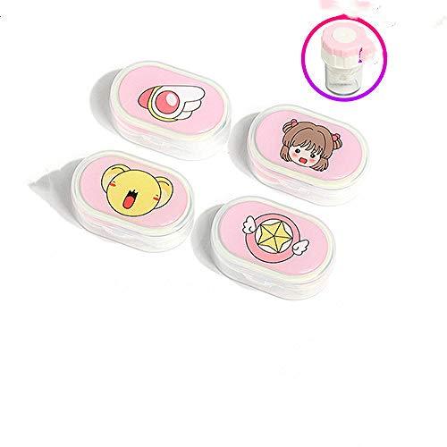 LFchujian Nette Kontaktlinsen-Kasten-Aufbewahrungsbox-Sorgfalt-Kasten-Reise-Werkzeug (vier Stücke).-Sakura 4