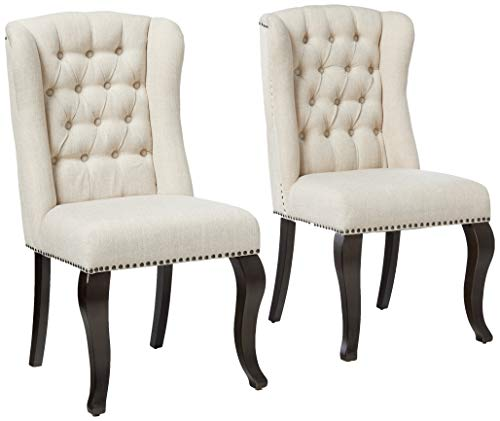 Best Quality Furniture Beige Linen Fabric Upholstered Dining Chair (Set of 2), Cappuccino