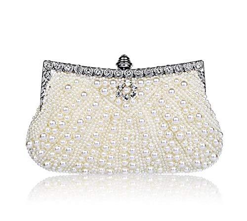 Pochette Donna Perle Borsa Da Sera Con Perline Elegante Pochette Fatta A Mano Pochette Da Sera Borsa Piena E Borsetta-Bianco