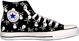 dbbd610d2d680 Converse All Star Chucks Hi Black White Tête de Mort 1q458 Taille 37
