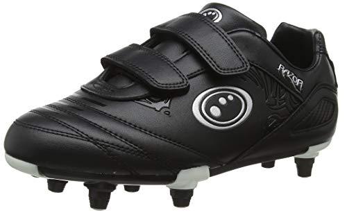 Optimum Boy s Velcro Razor 6 Stud Football Boots, Black Silver, 3 UK Child