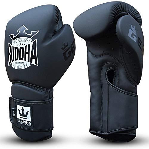 Guantes de Boxeo Muay Thai Kick Boxing Buddha Pro Gel (12 Onz, Negro Mate)