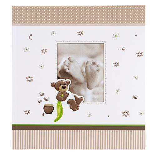 goldbuch Babyfotoalbum Honigbär, Album mit Fensterausschnitt, Fotobuch mit 60 weiße Blankoseiten mit 4 illustrierten Seiten und Pergamin-Trennblättern, Kunstdruck, 15238, 30x31 cm