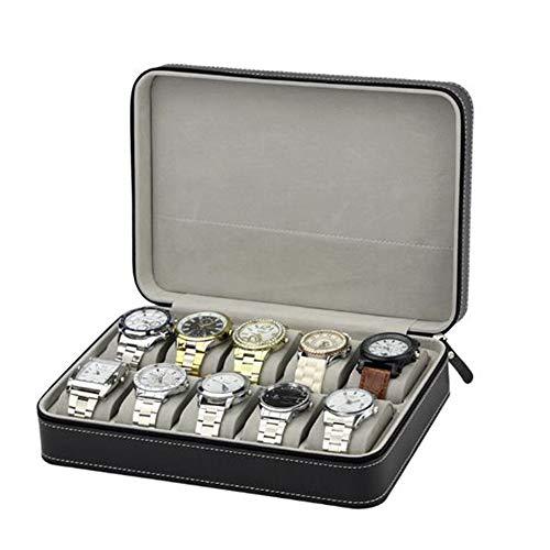 JDH Caja de Reloj para Hombre, Vitrina organizadora de Pulsera de joyería de Cuero sintético de 10 Rejillas, Soporte de Bandeja de Almacenamiento de Estante de exhibición de Terciopelo