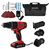 GETUHAND Cordless Tools Combo Kit with Case, 20V Lithium Ion Power Tools Combo Kit, 4-IN-1 Tool-3/8' Cordless Drill/Driver,1/4' Impact Driver, Jigsaw and Detail Sander