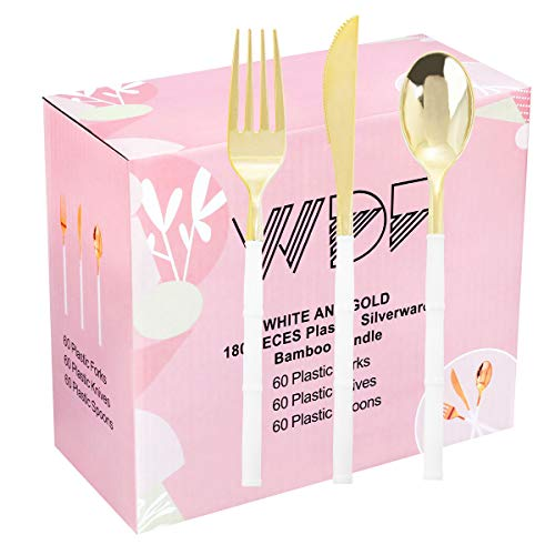 WDF 180Pieces Gold Plastic Silverware-Gold Plastic Cutlery with White Handle-Heavyweight Disposable Flatware-Gold Plastic Utensils Set Include 60Forks 60 Spoons 60 Knives