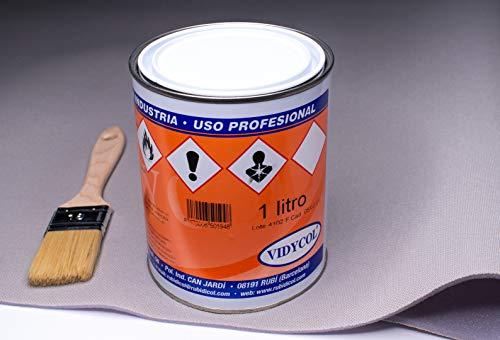 Kit tela para tapizar techo de coche, pegamento alta temperatura y brocha (GRATIS). Tejido gris claro foamizado de 2m de largo x 1,45m de ancho. 1 litro de cola y pincel para aplicarlo