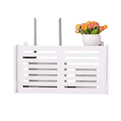 XZANTE Caja de Almacenamiento de Router Inalámbrico WiFi Estantería de Madera Y Plástico Soporte para Colgar En La Pared Almacenamiento de Cable Decoración del Hogar- Sonriente