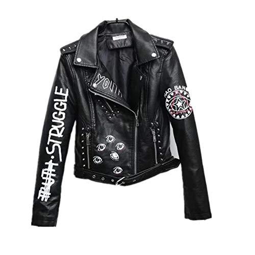 WLXFVNYBD Schwarze Graffiti-Lederjacke Damen New Spring Punk Moto Coat Cropped Faux Jacken mit Gürtel @ M