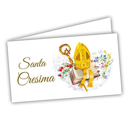 Bigliettini Bomboniera Cresima - Biglietti per confetti e sacchetti 60 pezzi pretagliati - stampa l'interno con link e il foglio di prova per non sbagliare
