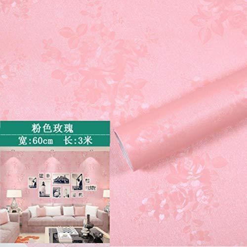 HUANGSAN Selbstklebende Tapete Schlafzimmer Mädchen wasserdicht warm rosa Tapete Schlafsaal Wandaufkleber Dekoration Desktop Schrank Möbel, rosa Rose, 3mx60cm