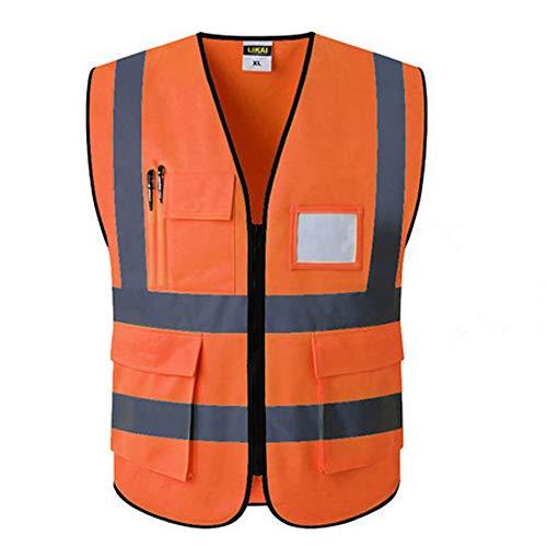 Gilet di Sicurezza Anteriore con Cerniera ad Alta Visibilità, Tasche Multiple, Gilet Riflettente, Abbigliamento da Lavoro Stradale XL, Fluorescente Gi