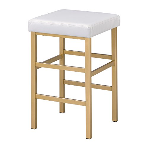 OSP Home Furnishings Backless Stool with Gold Frame, 26-Inch, White
