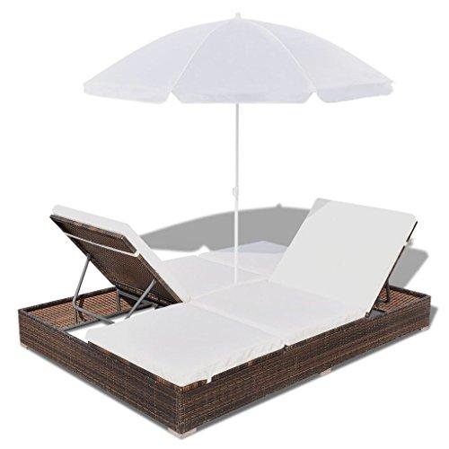 Festnight Sonnenliege Liege Rattanliege Gartenliege mit Schirm Polyrattan Braun