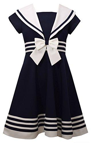 Bonnie Jean Girls A-Line Nautical Red Dot Dress, Red,6X