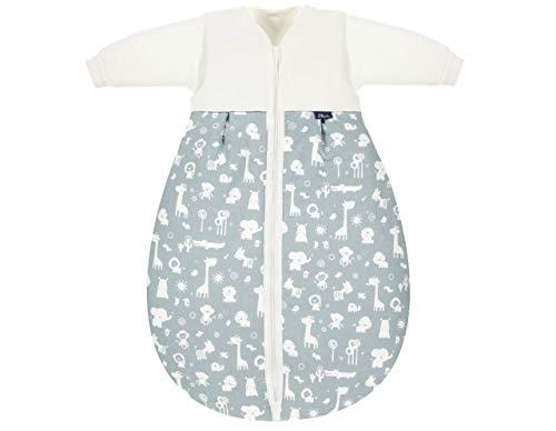Alvi Kombi-Schlafsack | Ganzjahres Baby-Schlafsack 2-teilig | Innensack mit Ärmel & gefütterter Außensack | Temperaturen von 15 bis 30°C, Größe:70, Design:Zootiere puderblau