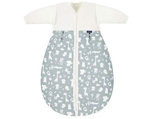Alvi Kombi-Schlafsack | Ganzjahres Baby-Schlafsack 2-teilig | Innensack mit Ärmel & gefütterter Außensack | Temperaturen von 15 bis 30°C, Größe:110, Design:Zootiere puderblau
