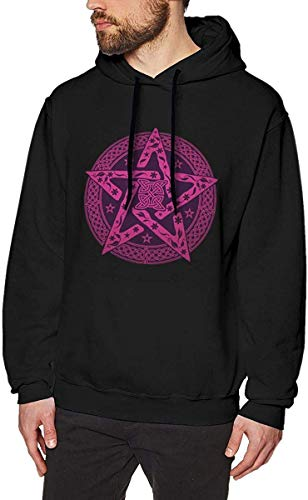 Homme Sweats à Capuche, Sweat-Shirt à Capuche, Mens Warm Hoodie Hooded Print with Wiccan Celtic Knot Pentagram with Floral Pattern Pattern