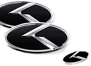 ZEO Front Rear Grill Steering Wheel K Logo Emblem 3-pc Set For 2010 2011 2012 Kia Forte Koup : Cerato Koup