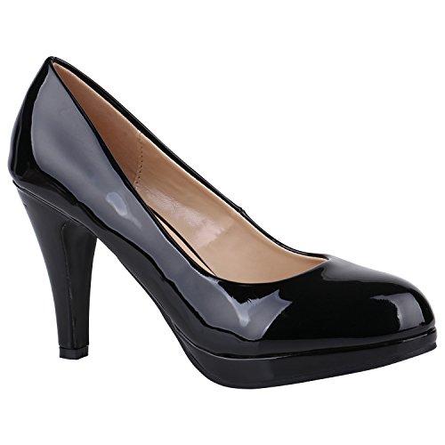 Damen Schuhe Pumps Plateau Pumps High Heels Lack Stiletto Elegante 156034 Schwarz Lack Camiri 38 Flandell