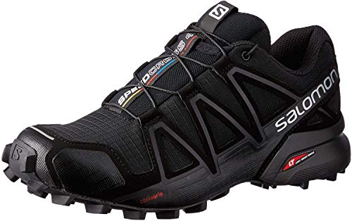 Salomon Women's Speedcross 4 Trail Running Shoes, Black/Black/BLACK METALLIC, 9