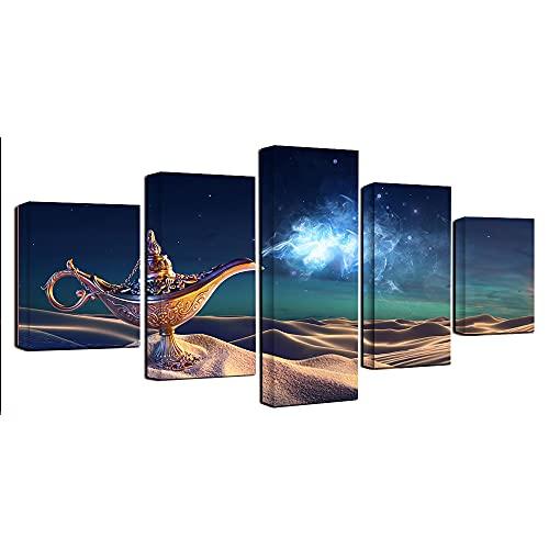 Decoración de pared de fondo pintura lámpara de Aladino 5 paneles carteles e impresiones Galería de impresión Envoltura de arte Estirado listo para colgar-200x100cm