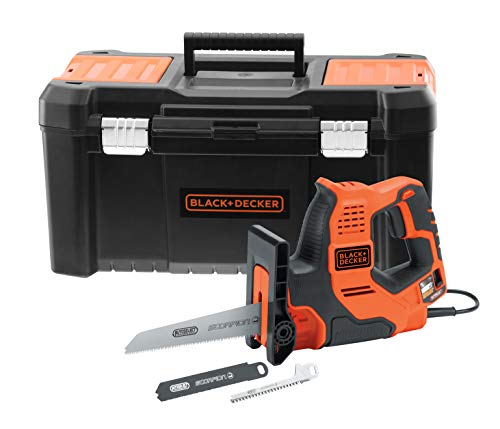 Black+Decker RS890KA-QS - Sierra de mano con cable (3 mm, metal, 100 mm, madera, 50 mm, manguera plástica y ramas, 3 cuchillas, se entrega en caja de herramientas 500 W)