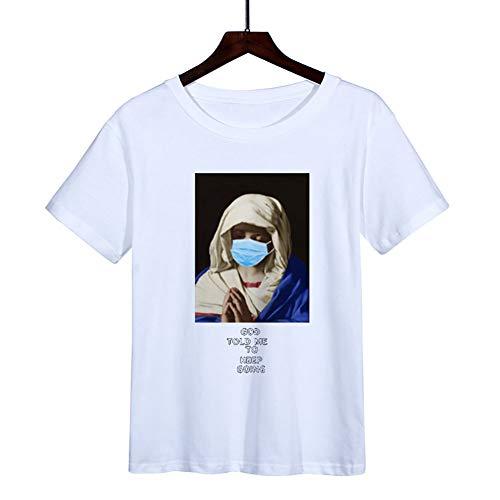 W&TT Hombres Mujeres Novedad Cuello Redondo Camiseta de Manga Corta Gráfico Unisex Camiseta Divertida de Advertencia de Virus XS ~ 3XL,White 1,XS