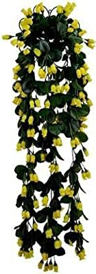 Dannyboyzs Artificial Hanging Flower, Rose Flower Vine for Indoor and Outdoor Decoration with Complimentary Hanging Stand Yellow Rose Artificial Flower (33 inch, Pack of 1)