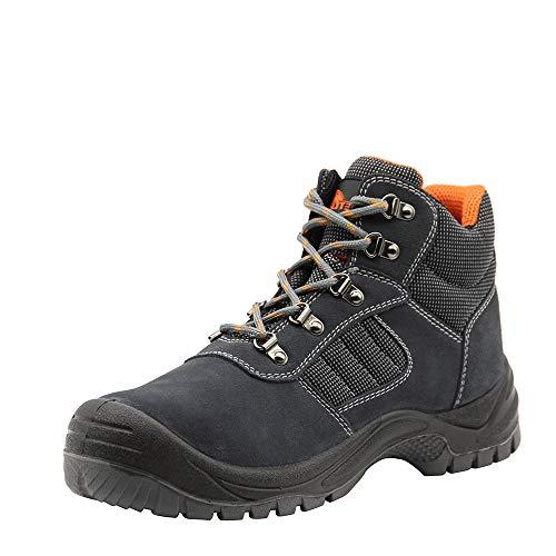 KAM-LITE Botas de trabajo de piel de ante para hombre, puntera de acero, S1P SRC, resistentes al aceite, zapatos de seguridad, zapatos industriales y de construcción de tobillo, color Gris 45 EU