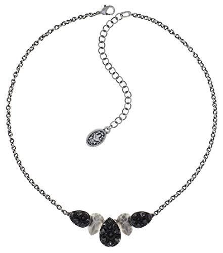 Konplott: Collier Tears of Joy, edles Tropfen-Kelch-Collier mit mehreren Kristallsteinen und stabiler Erbskette, schwarz, für Damen/Frauen
